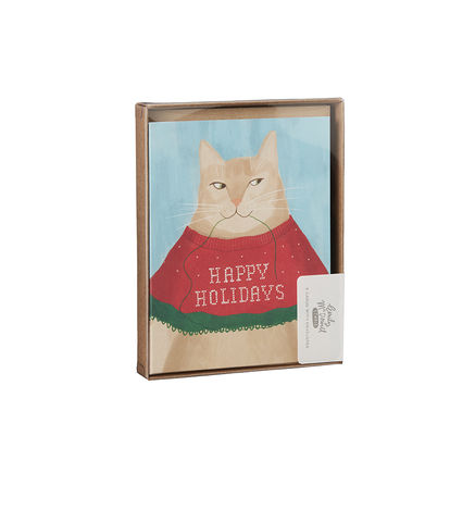 Cat,Sweater,Box,(Set,of,8),cat, sweater, box, set, cute, funny, hilarious, humorous, stationery, holiday, christmas, emily, mcdowell, studio