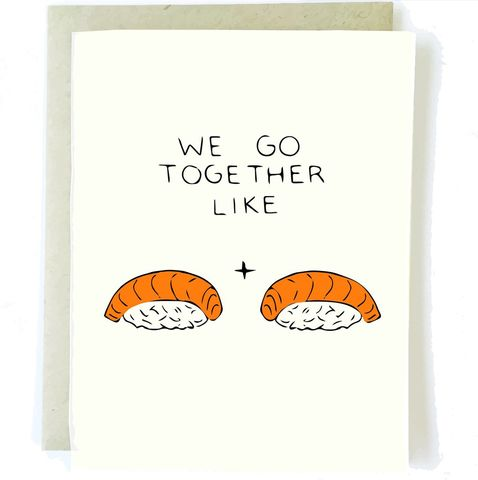 Sushi,Love,Card,sushi, romance, love, chalkscribe, blank, handmade, greeting, card, cute, romantic