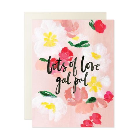 Lots,of,Love,Gal,Pal,Valentine's,Day,Card,our heiday, valentine, cursive, watercolor, valentine's day, valentines, day, floral, flowers, black, art, handmade, greeting, card, lots, of, love, gal, pal, friendship