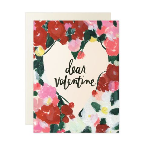 Dear,Valentine,Cursive,Valentine's,Day,Card,our heiday, dear, valentine, cursive, watercolor, valentine's day, valentines, day, floral, flowers, black, art, handmade, greeting, card