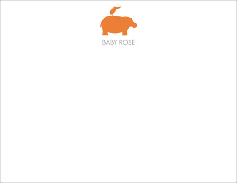 orange,hippo,and,bird,stationery, hippo, bird, personalized, stationery