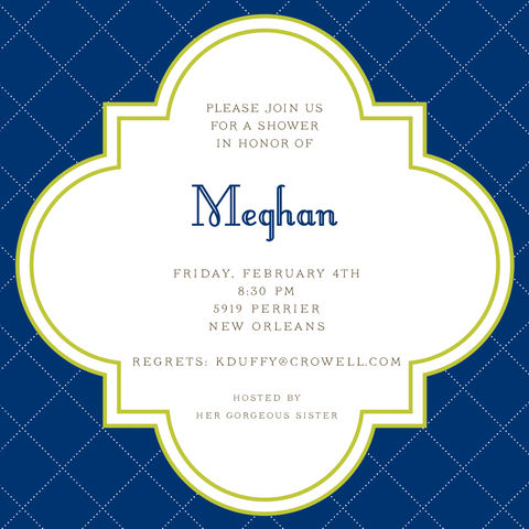 quatrefoil,invitation,blue, green, quatrefoil