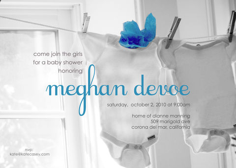 hanging,onesie,baby,invitation, boy, shower, blue