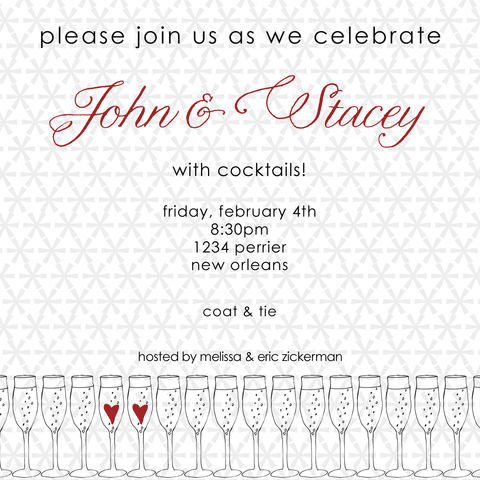 champagne,hearts,invitation, hearts, cocktails, holiday, shower, engagement