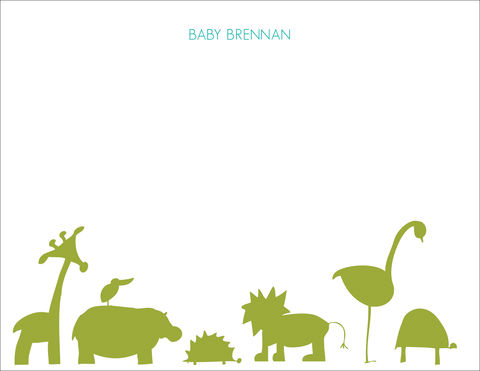 green,animal,parade,stationery, animals, green, flat card