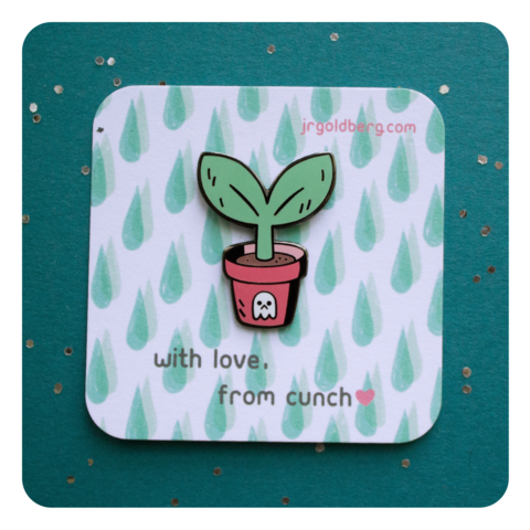 Potted,Plant,-,Rainy,Day,Brunch,Collection,Pins, enamel pin, pingame, ghost, sprout, gunmetal, cute, metal, plant, pot