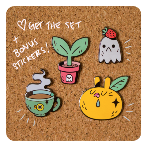 Rainy,Day,Brunch,Collection,(all,four,,plus,stickers),Pins, enamel pin, pingame, ghost, sprout, gunmetal, cute, metal, set,  plant, pot, duck, strawberry, mug, tea, coffee, cup