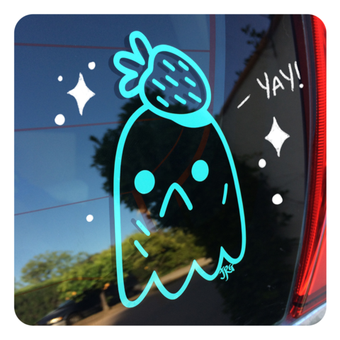 Strawberry,Ghost,-,transfer,sticker,ghost, strawberry, sticker, transfer sticker, car sticker, gloomy, mint