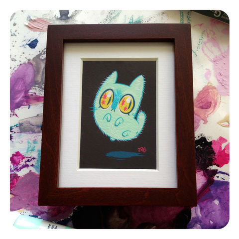 Floaty,Cat,Framed,Giclée,Print, painting, kitten, cat, floaty, framed