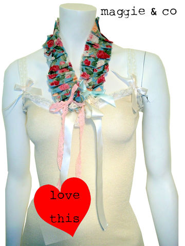 Hand,skinny,knit,scarf,with,corsages...,knitted scarf, vintage