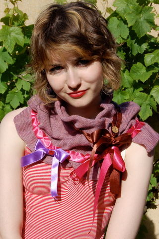 Hand,felted,ribbon,scarf,knitted scarf, vintage