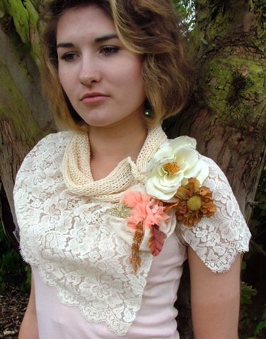 Knitted,collar,and,lace,mini,capelet,with,corsages,cardigan,coat,knitwear