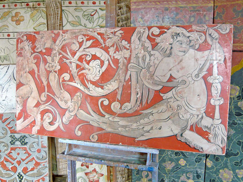 fresco,secco:,Mildenhall,Grotesque,fresco secco, painting, red, orange, grisaille, grotesque, Tudor, historic, dragon, angel, mythical, Renaissance