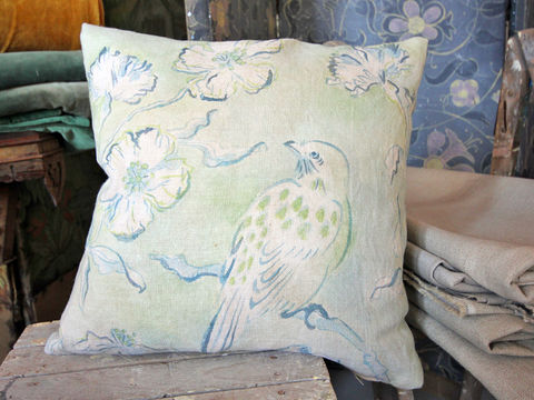 painted,cushion:,Spotted,Bird,Cushion, painted, hand painted, pattern, fabric paint, linen, scatter cushion, chair, armchair, sofa, seat, soft furnishing, pad, bird, green, feathers, meadow, cornflowers, watery, blue, pretty