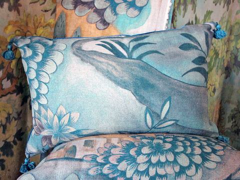 Cushion:,Verdure,(in,Tapestry,Green),Cushion, Zoffany, Verdure, painted cloth, landscape, linen, scatter cushion, sofa, chair, armchair, seat, soft furnishing, tassel, velvet, peacock blue, green, trees, bird