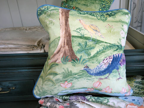 Cushion:,Peacock,Garden,(in,Green/Coral),Cushion, Zoffany, Peacock Garden, Indian, landscape, velvet, scatter cushion, sofa, chair, armchair, seat, soft furnishing, piping, green, trees, bird