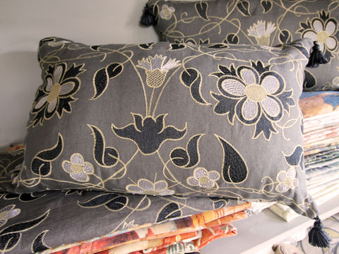Cushion:,Mille,Fleurs,(in,charcoal),Cushion, Zoffany, Mille fleurs, embroidery, embroidered, floral, swirling, linen, scatter cushion, sofa, chair, armchair, seat, soft furnishing, tassel, bead, charcoal, black, silver, gold