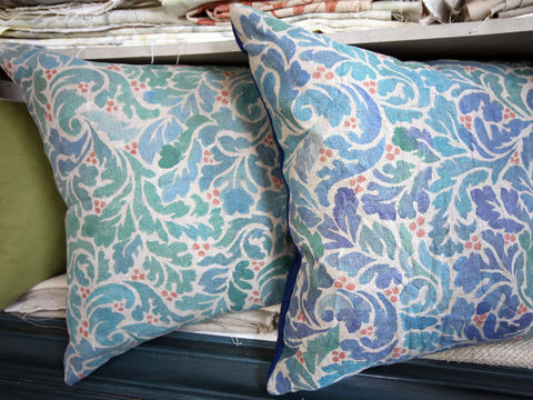 Painted Cushion: Acanthus (navy) - product images  of
