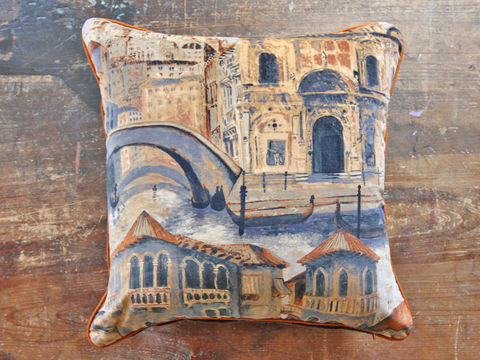 Cushion:,The,Gondolier,(gondola),Cushion, Zoffany, gondolier, italy, venice, italian, canal, gondola, church, building, architecture, architectural, cityscape, cathedral, water, sky, bridge, velvet, floor cushion, statement, sofa, chair, armchair, seat, soft furnishing, piping, o