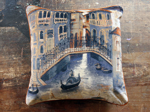 Cushion:,The,Gondolier,(bridge),Cushion, Zoffany, gondolier, italy, venice, italian, canal, gondola, church, building, architecture, architectural, cityscape, cathedral, water, sky, bridge, velvet, floor cushion, statement, sofa, chair, armchair, seat, soft furnishing, piping, o
