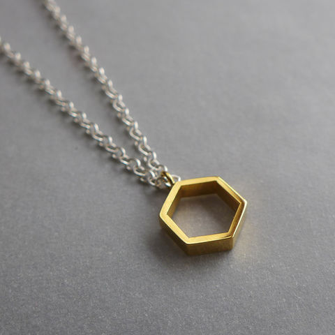 Hollow,hexagon,yellow,gold,vermeil,pendant,on,16,chain,delicate, geometric necklace, yellow gold, gold vermeil
