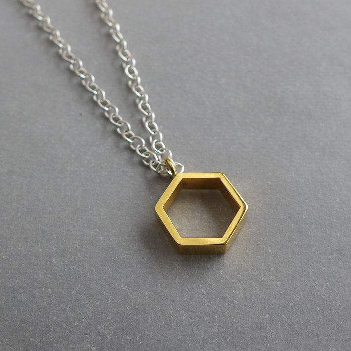 "Hollow hexagon yellow gold vermeil pendant on 16"" chain - product images  of"