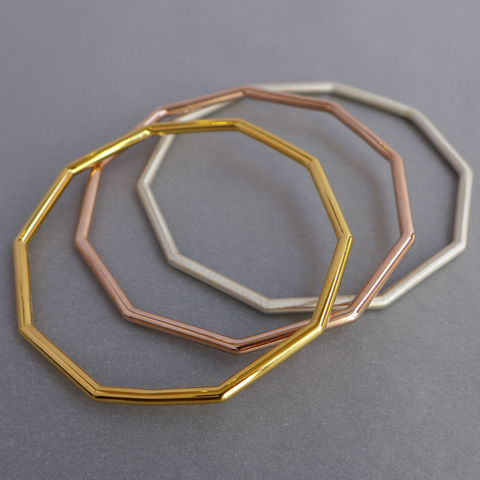 Chunky,decagon,bangle,-,choice,of,3,finishes, geometric bangle, geometric jewellery
