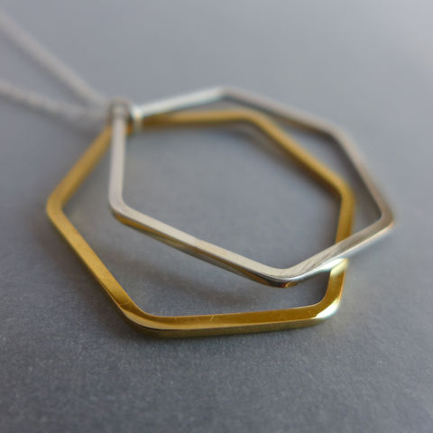 Double,hexagon,wire,silver,and,gold,vermeil,pendants,on,18,chain,geometric pendant, necklace, silver, laila smith, hexagon, yellow gold