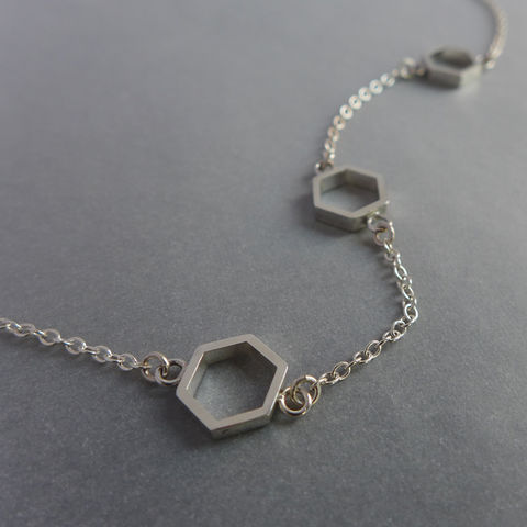 Triple,hexagon,short,necklace,in,silver,geometric pendant, necklace, silver, laila smith, hexagon, geometric necklace