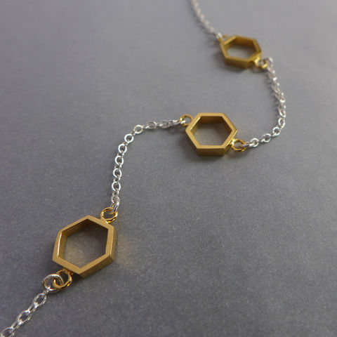 Triple,hexagon,short,necklace,in,silver,and,yellow,gold,vermeil,geometric pendant, necklace, silver, laila smith, hexagon, geometric necklace