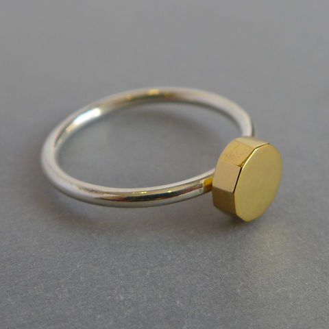 Decagon,ring, geometric, rose gold, yellow gold, vermeil, decagon