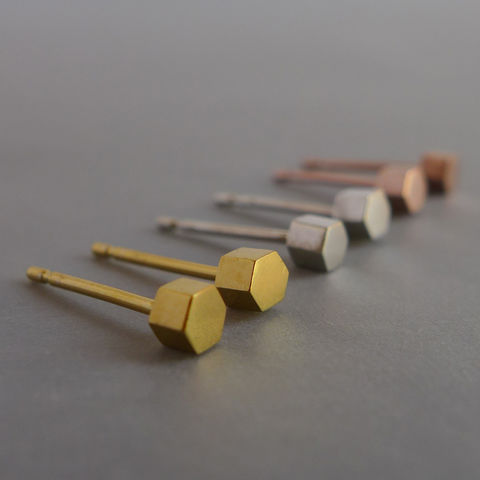 Small,hexagon,earrings,in,a,choice,of,silver,,yellow,gold,vermeil,or,rose