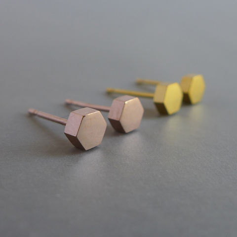 Medium,hexagon,earrings,in,a,choice,of,finishes,rose gold earrings geometric silver hexagon