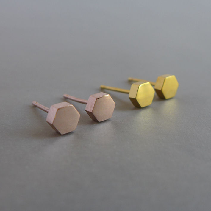 Medium hexagon earrings in a choice of finishes - product images  of