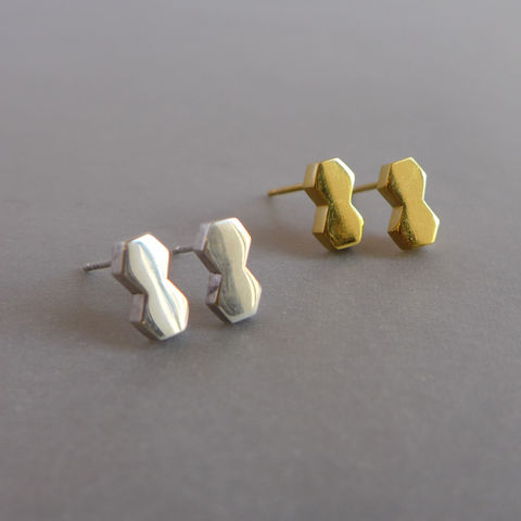 Double,hexagon,earrings,in,a,choice,of,finishes, geometric, rose gold, yellow gold, vermeil, silver, hexagon