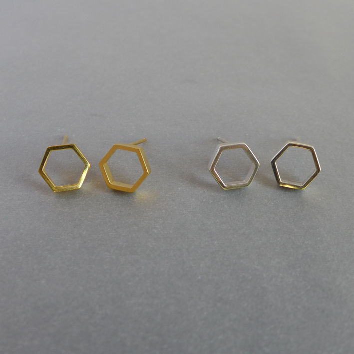 Hexagon slice earrings in yellow gold vermeil - product images  of