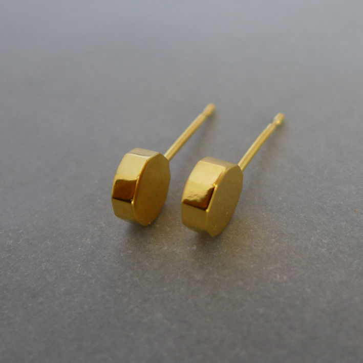 Decagon slice earrings in yellow gold vermeil - product images  of