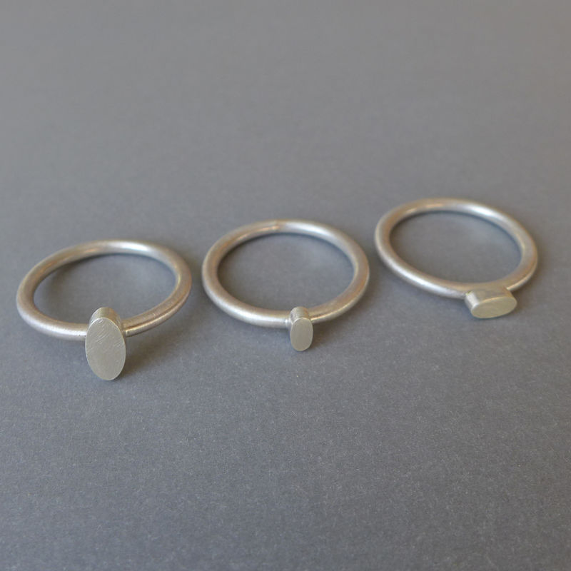 Oval silver ring set - product images  of