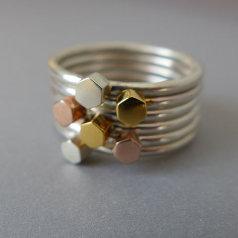 Silver,and,gold,vermeil,multi,hexagon,ring,set,ring set, hexagon, mathematics, geometric, present, gift,