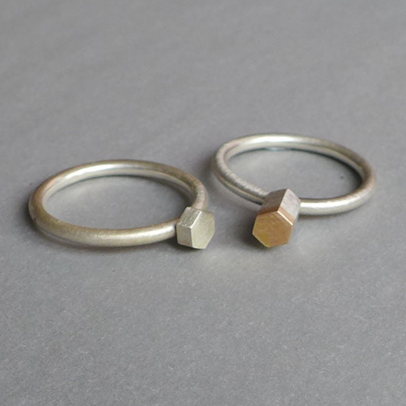 Midi 18ct and silver hexagon ring set - product images  of
