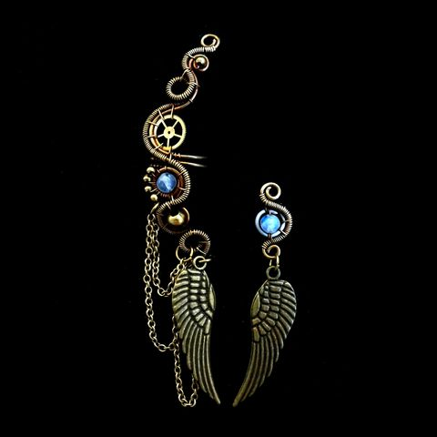 Steampunk,Couture,Cartilage,Earring,Set,by,Mayahandmade,steampunk couture, cartilage ear, ear cuff set, winged ear cuff, dangle earrings, steampunk, moonstone, gemstone, wire wrapped, mayahandmade