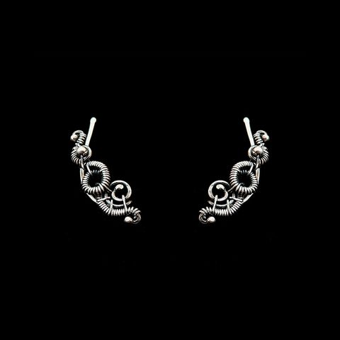 Swirl,Ear,Climbers,by,Mayahandmade,ear climbers, wire earrings, 925 silver, wire wrapped, dark patina jewelry, handmade, mayahandmade