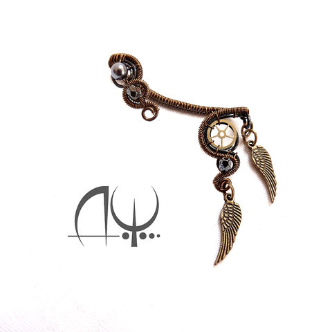 Steampunk,Style,Ear,Wrap,by,Mayahandmade,steampunk style, ear wrap, steampunk ear wrap, wire wrapped, handmade, mayahandmade