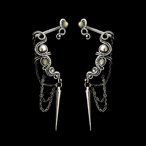 Silver,Gothic,Cartilage,Earring,With,Spike,by,Mayahandmade,Jewelry,gothic, gothic earring, cartilage earring, spike earring, sterling silver jewelry, ear cuff spike, handmade jewelry, mayahandmade