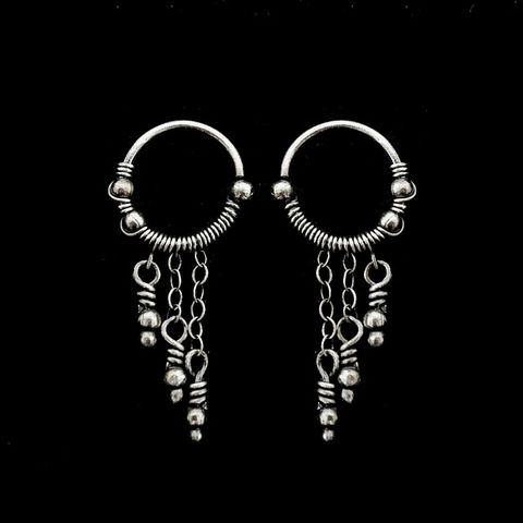 Silver,Hoop,Dangle,Earrings,by,Mayahandmade,silver earrings, hoop earrings, dangle earrings, 925 silver, wire wrapped, wire earrings, unique piercings, tribal piercings, handmade, mayahandmade