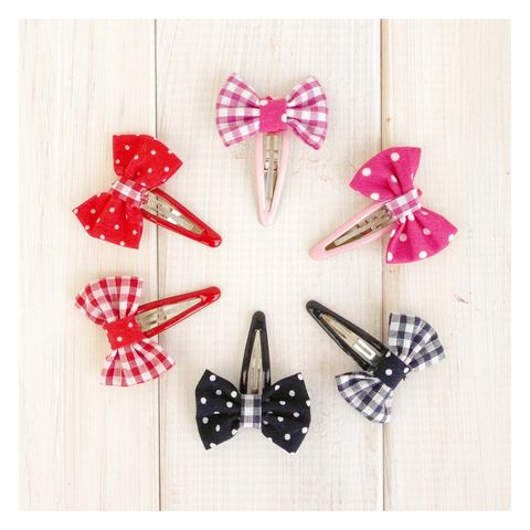 Bow,Hairclip,Gingham,And,Polka,Dot,Bow Hairclip. Handmade in Britain. Hair Accessories, Polka Dot Hair Clip - Gingham Hair Clip - Party Bag Favour - School Uniform Hairclip - Hair Clip for Girls - Girls Party Favour- Party Bag