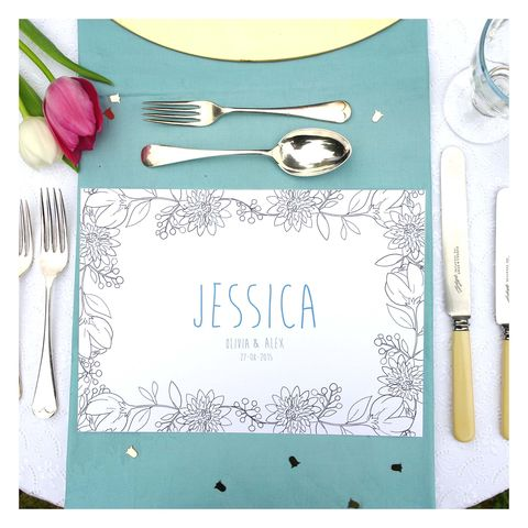 Personalised,Wedding,Colour,Me,In,Table,Place,Mats,-,Floral,Place Mat. Wedding Place Mats. Wedding Accessories, Floral Colouring in Place Mat - Personalised Table Setting - Girls Birthday Party - Wedding Activity - Mindfulness - Kids Creative Activity