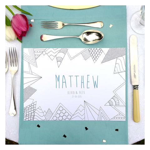 Personalised,Wedding,Colour,Me,In,Table,Place,Mats,-,Geometric,Place Mat. Wedding Place Mats. Wedding Accessories, Personalised Wedding Colour Me In Table Place Mats - Geometric - For Men - Wedding Activity - Birthday Party Boys Colouring In - Mindfulness