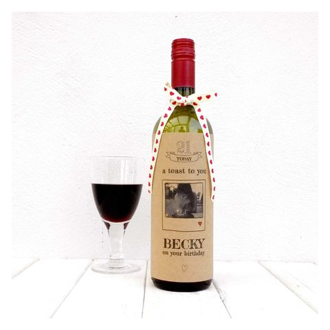 A,Toast,To,You,On,Your,Birthday,Bottle,Card,Bottle Card Accessory, Wine Bottle, Birthday
