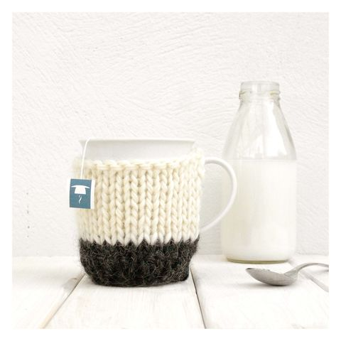 Colour,Block,Mug,Cosy,And,-,Charcoal,Grey,Mug Cosy, Colour Block Mug Cosy, Tea, Mug and Knitted Cosy - Charcoal Grey Mug Cozy - Black and White Tea Cosy - Personalised Gift - Cup Cosy - Drink Warmer - Graduation Gift